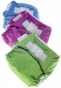 Diapers with hook and loop fasteners.