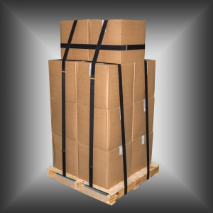Pallet straps securing a shipment.