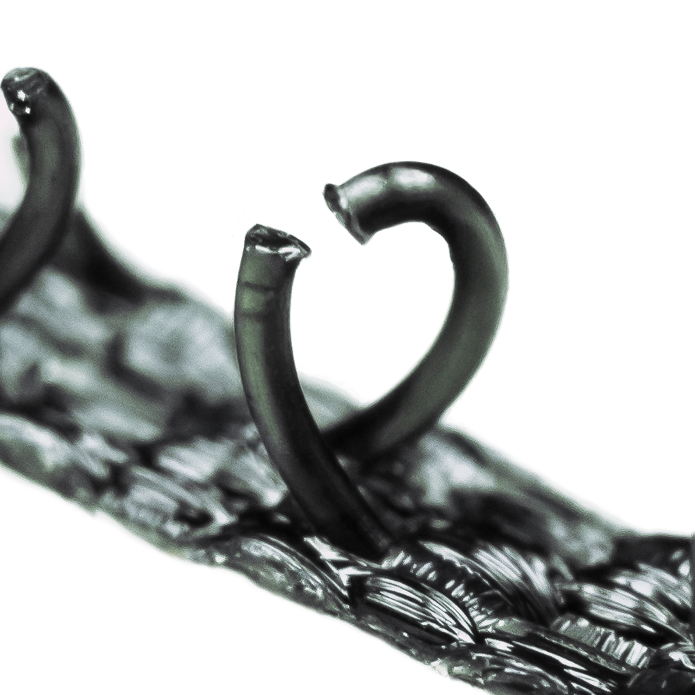 Close-up of the hook side of the fastener.